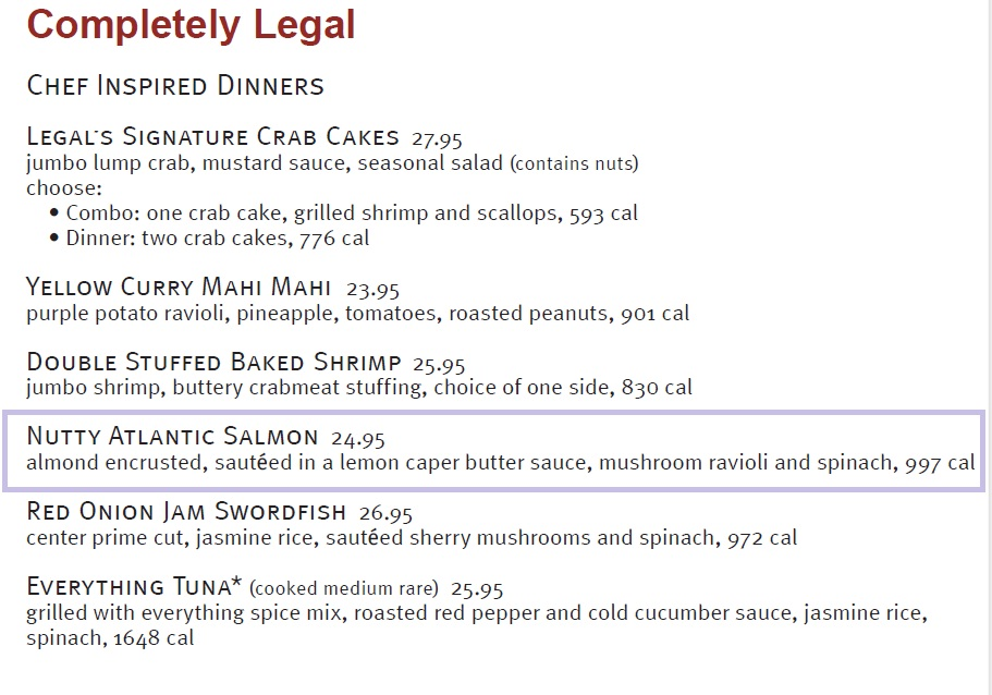 Nutty Atlantic Salmon from Legal Seafood