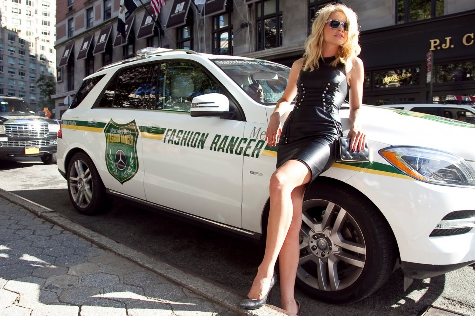 Jessica Stam poses with the Mercedes-Benz Fashion Ranger