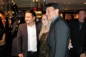 Narciso-Rodriguez and Phillip Bloch pose with Eila Mell at Elia Mell's 'New York Book Release/Fashion Week' party for Fashion's Night Out.