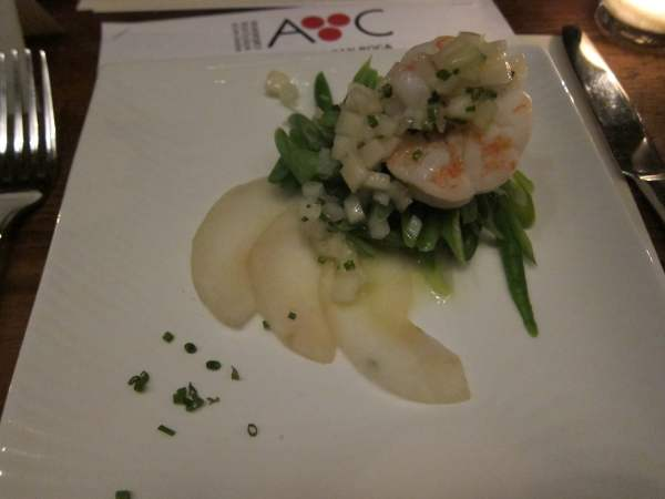 Nest of Green Beans with Fresh Pear Salad and Prawns.