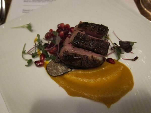 Magret Duck Breast with Pomegranates, Sweet Potatoes and Truffles