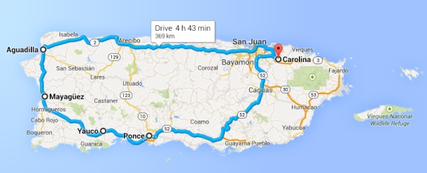 Driving around western puerto rico map-d
