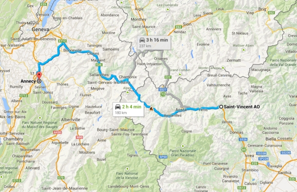 saint vincent italy to annecy france