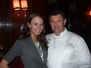 Kristen Colapinto and Chef Laurent Tourendel at Brasserie in New York City