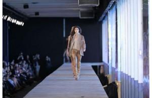 Model walking on runway