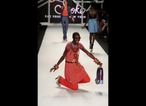Ataui Deng Falls on Runway during Fashion week
