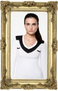 Female model in Wolf & Harrison shirt
