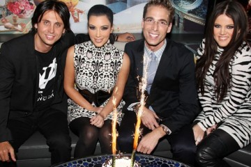 Jonathan Cheban, Kim Kardashian, Simon Huck, and Khloe Kardashian attend Spin Crowd's Season Finale Party