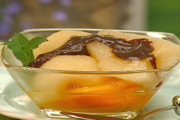 Orange Poached Pears with Fudge Sauce
