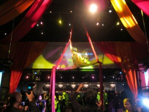 Live acrobatic performance at Georges Duboeuf 2010 Beaujolais Nouveau Cirque Celebration with Molly Sims