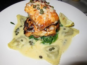 Nutty Atlantic Salmon from Legal Seafood in White Plains, NY