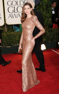 Anne Hathaway on the red Carpet at the 68th Annual GOLDEN GLOBE AWARDS