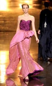 Badgley Mischka Fall 2011 Runway design, a pink dress with a sweetheart neckline.