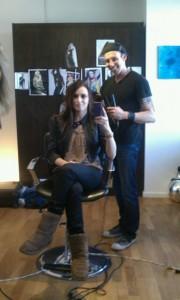 Kristen Colapinto having her hair done by Steven Dillon