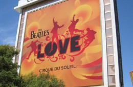 Exterior sign for The Beatles LOVE, Cirque du Soleil show at the Mirage in Las Vegas