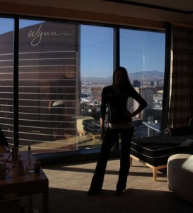 Kristen Colapinto in her suite at the Encore at the Wynn Hotel in Las Vegas.