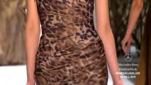 Monique Lhuillier Fall 2011 leopard print, trumpet dress