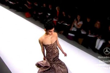 Monique Lhuillier Fall 2011 leopard print, trumpet dress