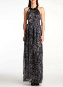 Eric Daman Charlotte Russe Leopard Printed Chiffon Maxi Dress with Embellished Neck and High Slit
