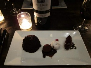 Chocolate with Different Textures with Violet Jam and Blackberry Sorbet