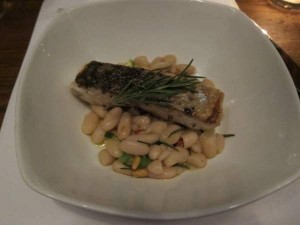 Turbot with Beans and Arbequina Olive Oil, Toasted Pine Nuts and Rosemary.