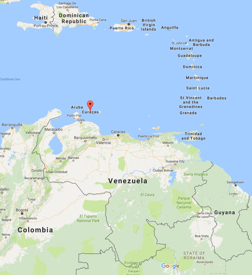 Map of Curacao and Venezuela